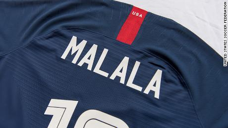 aa3a33b3571 Forward Carli Lloyd switched her usual jersey for one honoring Nobel Prize  winner Malala Yousafzai.