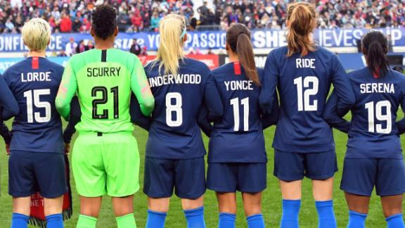 Mar 2, 2019; Nashville, TN, USA; The United States team wear the names of women who inspire them on the back of their jersey before the game against England during a She Believes Cup women's soccer match at Nissan Stadium. Mandatory Credit: Christopher Hanewinckel-USA TODAY Sports
