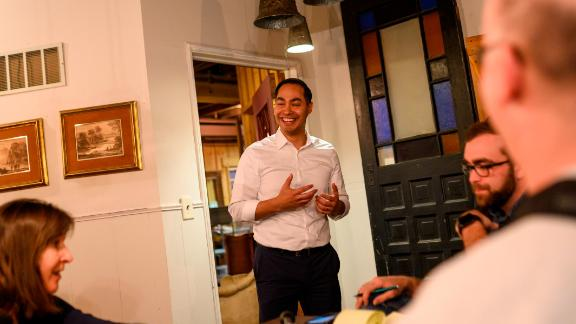 Democratic presidential candidate Julian Castro speaks at an event hosted by the Boone County Democrats at the Livery Deli on February 23, 2019 in Boone, Iowa.