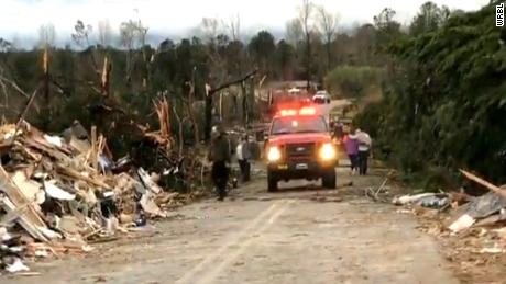 Damage is shown in Alabama after tornadoes touched down.