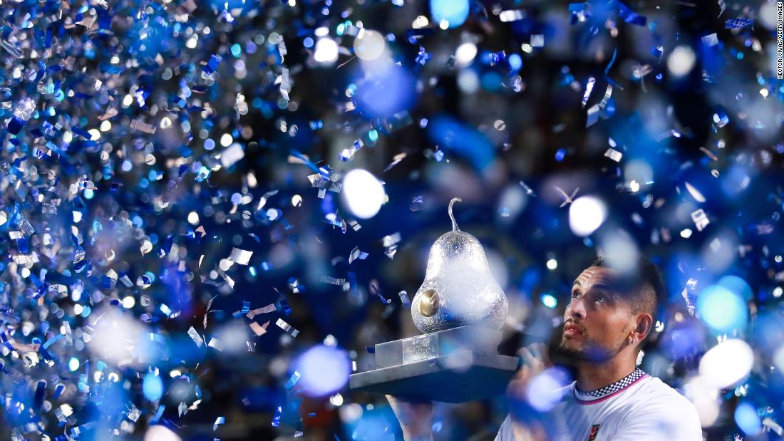 Nick Kyrgios of Australia is doused in confetti after winning the Telcel Mexican Open on Saturday, March 2, in Acapulco, Mexico. Kyrgios defeated Alexander Zverev in straight sets.