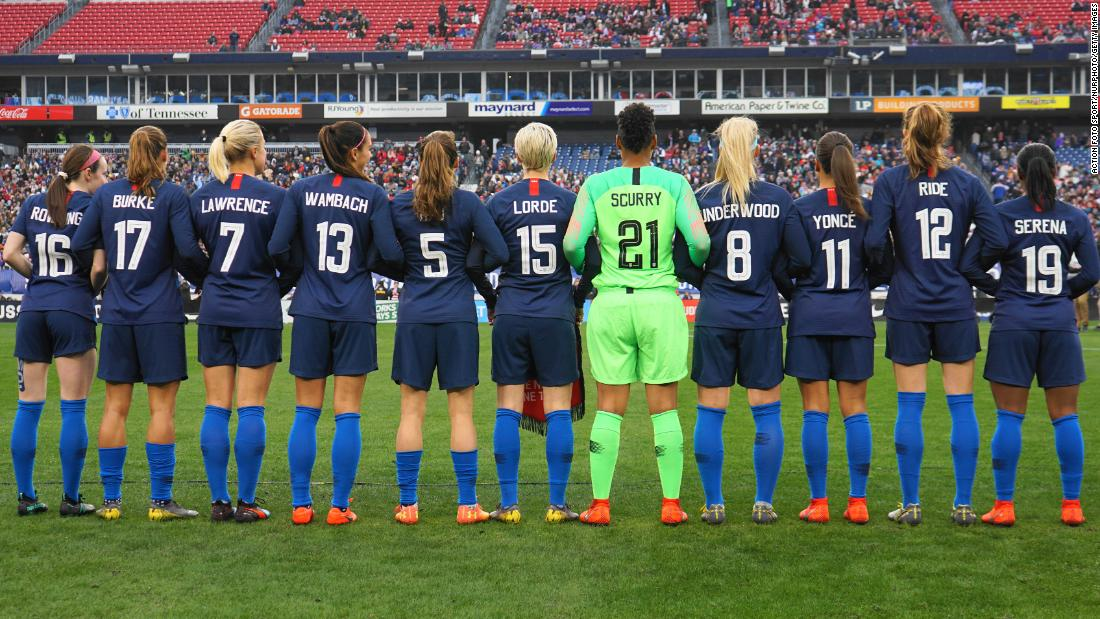 "Members of the US Women's national soccer team pose in <a href=""https://www.cnn.com/2019/03/02/sport/uswnt-jerseys-shebelieves-cup/index.html"" target=""_blank"">jerseys honoring inspirational women</a> before their SheBelieves Cup match with England on Saturday, March 2, in Nashville, Tennessee. Notable women included music icons such as Beyoncé and Cardi B, fellow athletes Serena Williams and Mia Hamm, and Supreme Court Justice Ruth Bader Ginsburg."