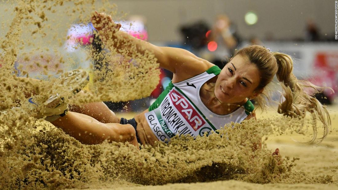 Nastassia Mironchyk-Ivanova competes in the women's long jump final at the 2019 European Athletics Indoor Championships in Glasgow on March 3.
