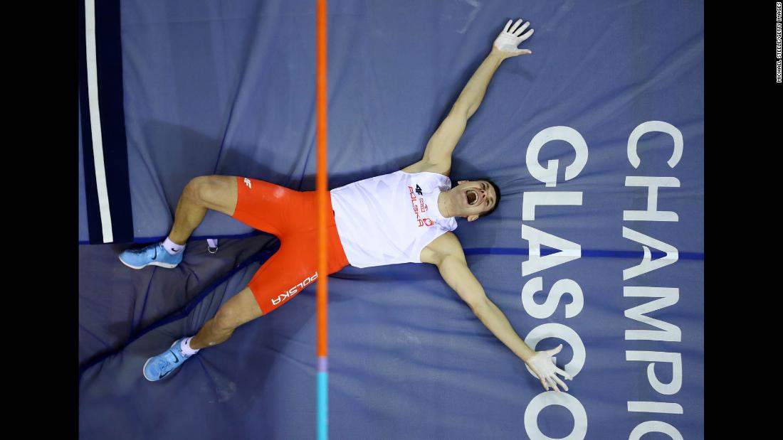 Pawel Wojciechowski of Poland reacts during the Men's Pole Vault Final at the 2019 European Athletics Indoor Championships on March 2, in Glasgow, Scotland.