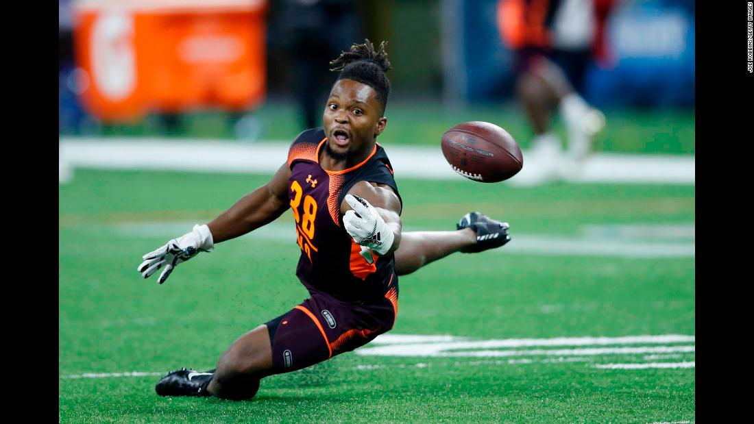 Wide receiver Noonie Murray of Florida State tries to catch a pass during day three of the NFL Combine on March 2, at Lucas Oil Stadium.