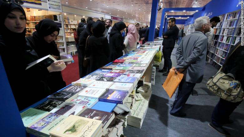 Iraqis visit the International Book Fair in Baghdad on February 7.