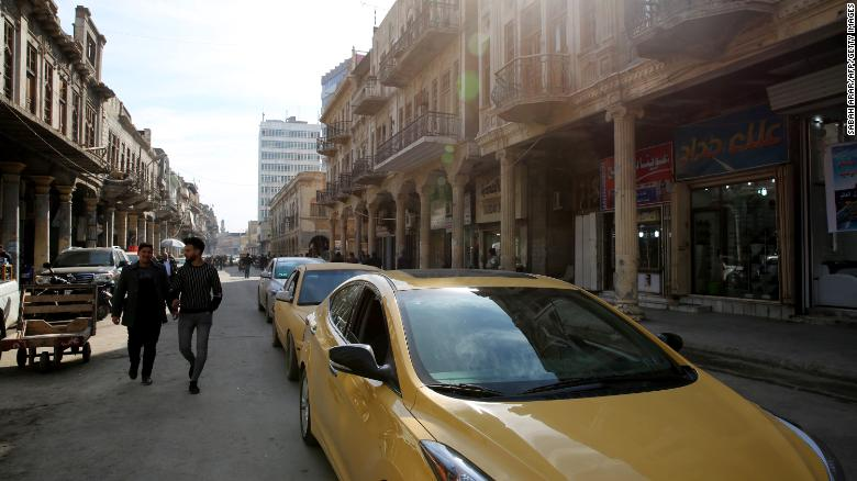 A general view shows traffic on Al-Rashid Street in Baghdad's historic center on January 21.