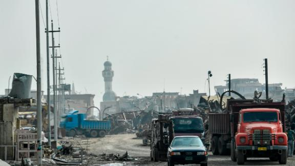 The view of the destroyed old city of Mosul on February 19.