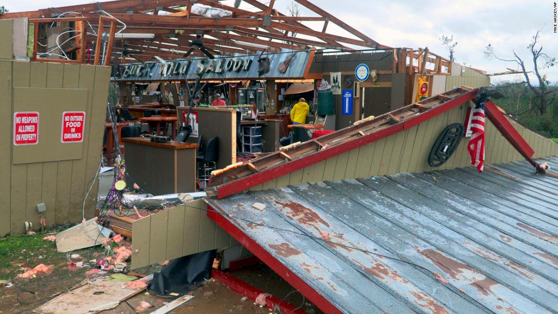 The Buck Wild Saloon was heavily damaged in Smiths Station, Alabama.