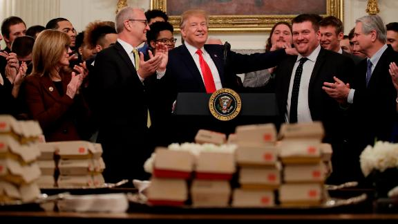President Donald Trump welcomes 2018 NCAA FCS College Football Champions, The North Dakota State Bison, to the White House in Washington, Monday, March 4, 2019. (AP/Carolyn Kaster)