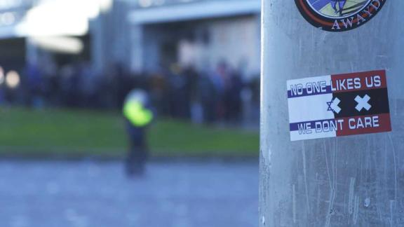 A sticker with a Star of David on a post close to the Ajax stadium.