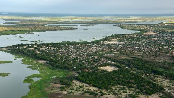 This aerial picture taken on July 16, 2016 shows Lake Chad in Africa's Sahel region. The lake's water supply has shrunk by over 90% since the 1960s.