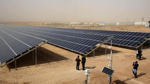 A general view shows a solar plant at the Zaatari refugee camp in Jordan on November 13, 2017.