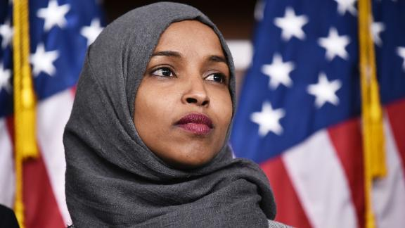 Representative-elect Ilhan Omar, D-MN, attends a press conference in the House Visitors Center at the US Capitol in Washington, DC on November 30, 2018.