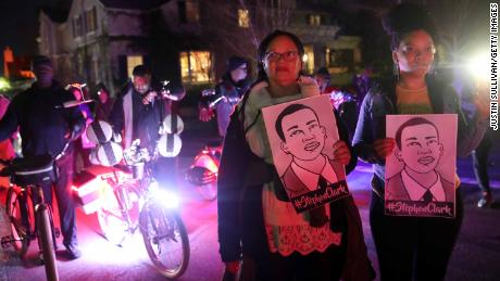 Protesters march through the streets as they demonstrate against the Sacramento police officers who shot and killed Stephon Clark.