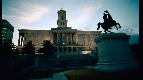 (Original Caption) Nashville, Tennessee. Exterior view of the Tennessee State Capitol building in Nashville