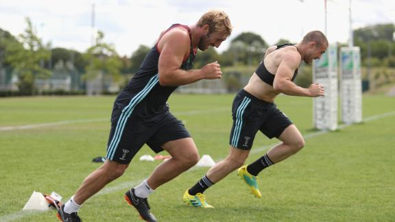 Chris Robshaw and teammate Mike Brown hard at work at Harlequins' training ground in Guildford, UK