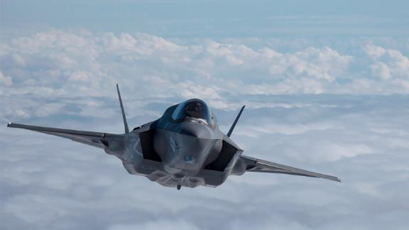 A US Marine Corps F-35B flies  above the East China Sea, Oct. 23, 2018.