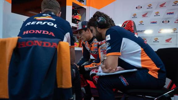 Marc Marquez (center) during Moto GP testing in Qatar.