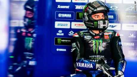 Maverick Vinales of Movistar Yamaha MotoGP watches on during testing in Doha, Qatar.