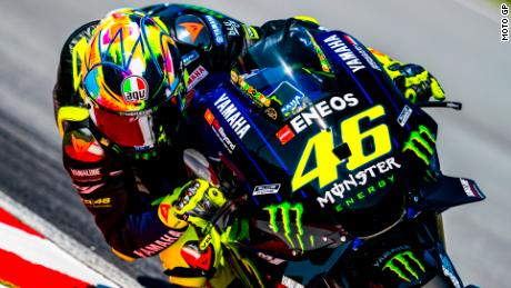 Valentino Rossi of Yamaha during practice in Doha, Qatar.