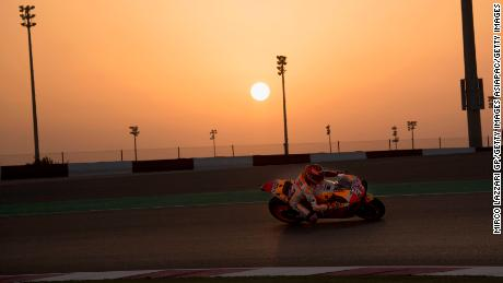 Marc Marquez of Repsol Honda Team rounds the bend during MotoGP tests at the Losail Circuit.