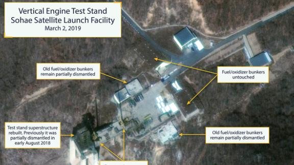 Satellite images appear to show construction at North Korea's Tongchang-ri Launch Facility at both the vertical engine test stand and the launch pad's rail-mounted rocket transfer structure.