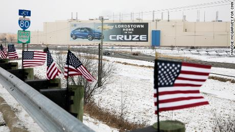 Flags lined up outside the Lordstown GM plant.