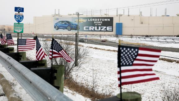 Flags line up outside of the Lordstown General Motors plant on March 5, 2019. The plant is closing on Wednesday.