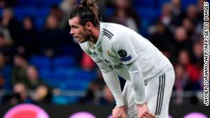 Real Madrid's Welsh forward Gareth Bale gestures during the UEFA Champions League round of 16 second leg football match between Real Madrid CF and Ajax at the Santiago Bernabeu stadium in Madrid on March 5, 2019.