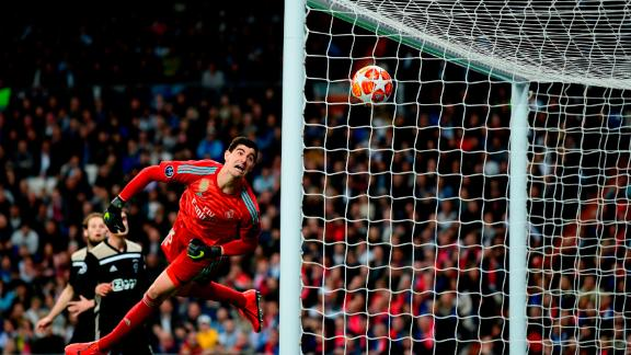 Thibaut Courtois watched helplessly as the fourth Ajax goals sails into the net.