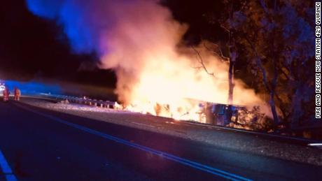 The scene following a car crash near Howard's Road between Wallabadah and Willow Tree in New South Wales, Australia. Police believe the collision is related to the murder of Sydney dentist Preethi Reddy.
