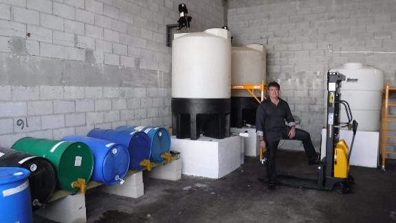 Pino at the Miami production facility for his company's  biodegradable cleaning products.