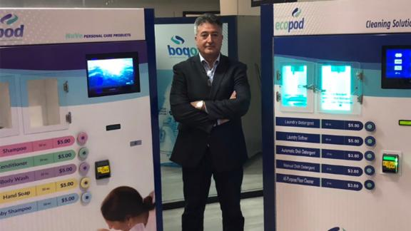 Pino with several Ecopod vending machines.