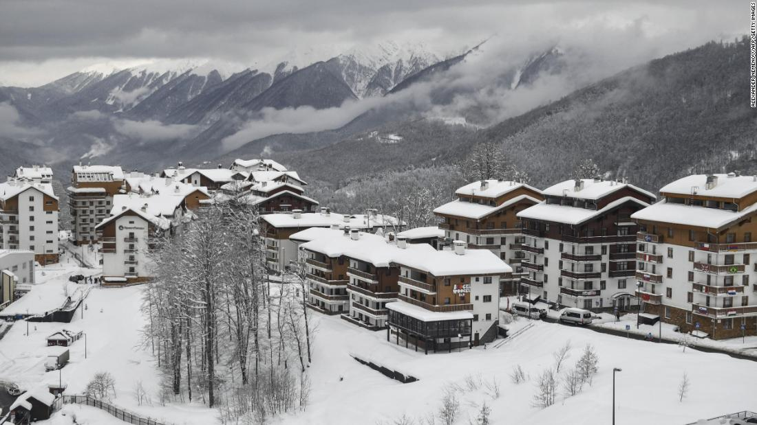 The Rosa Khutor resort in Sochi looks a ghostly, isolated picture after competition is called off due to conditions.