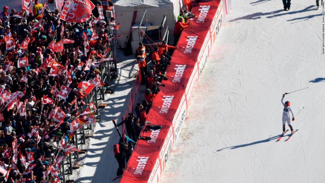 Italy's Federica Brignone celebrates her victory in the Alpine combined race at Crans-Montana.