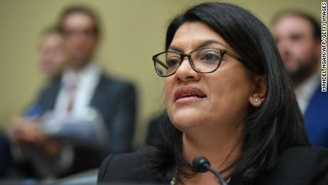 US Congresswoman Rashida Tlaib, Democrat of Michigan, questions Michael Cohen, US President Donald Trump's former personal attorney, as he testifies before the House Oversight and Reform Committee in the Rayburn House Office Building on Capitol Hill in Washington, DC on February 27, 2019. (MANDEL NGAN/AFP/Getty Images)