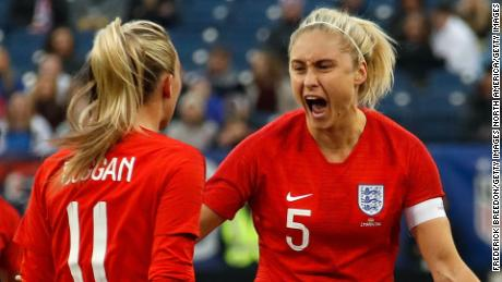 NASHVILLE, TN - MARCH 02:  Steph Houghton #5 of England responds after scoring a goal in the 2019 SheBelieves Cup match between USA and England at Nissan Stadium on March 2, 2019 in Nashville, Tennessee.  (Photo by Frederick Breedon/Getty Images)