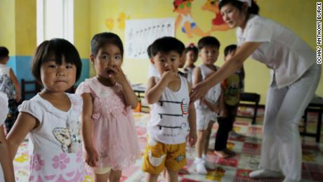 Children in the Unryul County Nursery in North Korea's Unryul county.