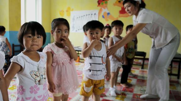 Children in the Unryul County Nursery in North Korea