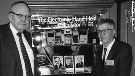 Jerry Merryman, right, and Jack Kilby, at the American Computer Museum in Bozeman, Montana, in 1997