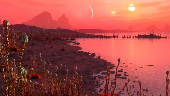 Artist's impression of life on a planet in orbit around a binary star system, visible as two suns in the sky. Credit: Mark Garlick