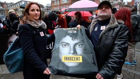 "Michael Jackson fans staged a protest outside the headquarters of Channel 4 ahead of the airing of the documentary ""Leaving Neverland."""