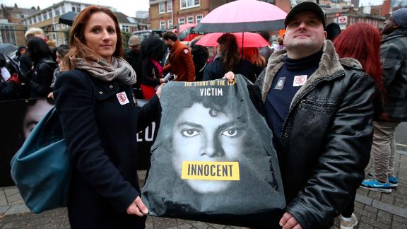 """Michael Jackson fans staged a protest outside the headquarters of Channel 4 ahead of the airing of the documentary """"Leaving Neverland."""""""