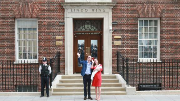 The Duke and Duchess of Cambridge leave the Lindo Wing with their son Prince Louis.