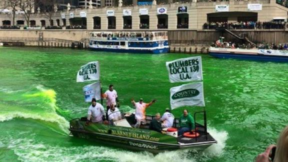 On the morning of the St. Patrick's Day parade, the dye crew will be on the river by 9 a.m.