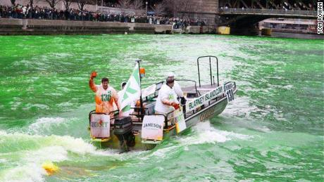 Every St. Patrick's Day, the Rowan and Butler families dye the Chicago River green.