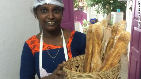 Janaki, an employee at Eat My Cake for two years, delivers bread to local restaurants.