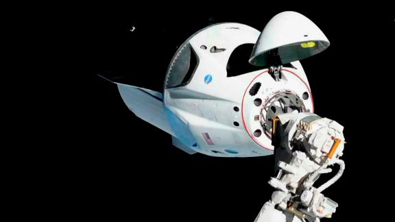 SpaceX's Crew Dragon docking with the International Space Station.