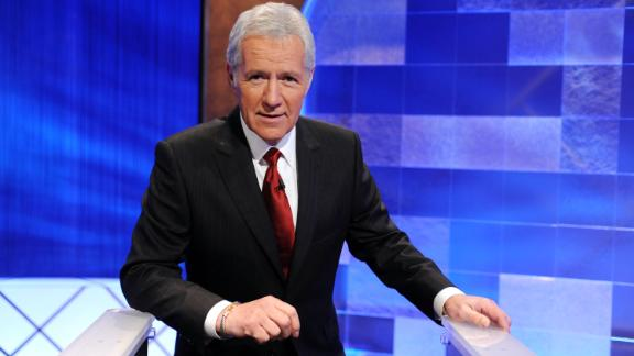"CULVER CITY, CA - APRIL 17:  Game show host Alex Trebek poses on the set of the ""Jeopardy!"" Million Dollar Celebrity Invitational Tournament Show Taping on April 17, 2010 in Culver City, California.  (Photo by Amanda Edwards/Getty Images)"